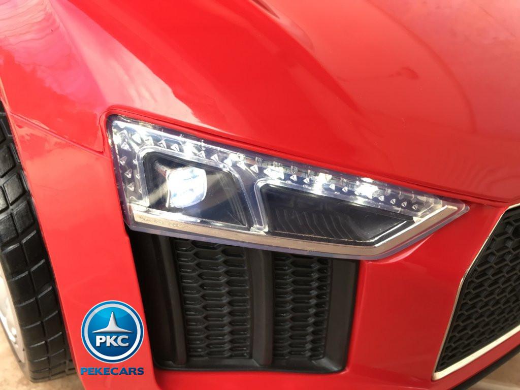 Coche electrico para niños Audi Little R8 Spyder Rojo luces led delanteras