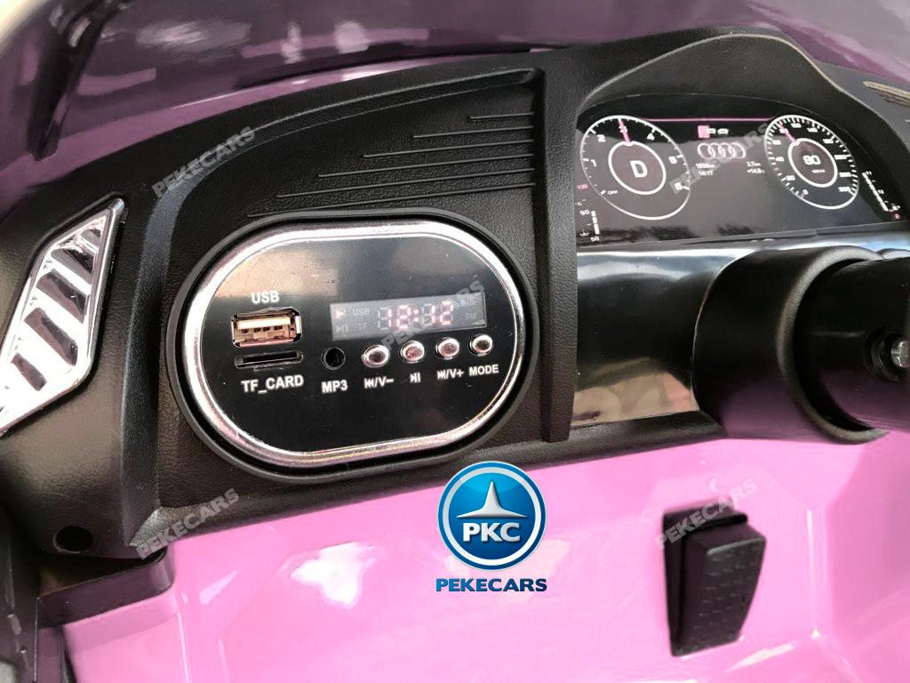 Coche electrico infantil Audi Little R8 Spyder Rosa con conexion USB