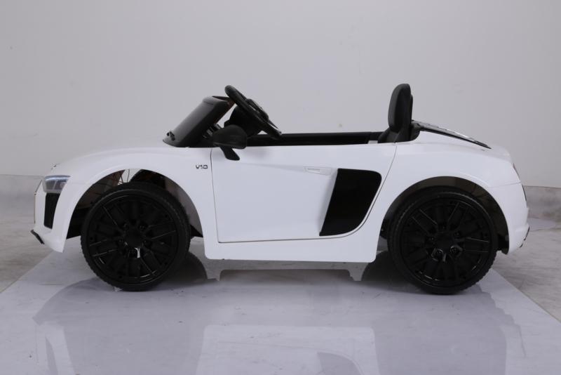 Coche electrico infantil Audi R8 Spyder Blanco visto de lado