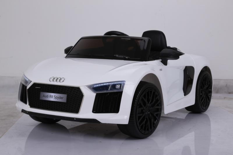 Coche electrico para niños Audi R8 Spyder Blanco vista lateral