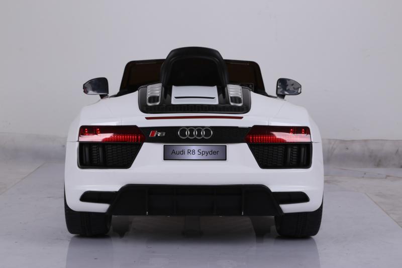 Coche electrico para niños Audi R8 Spyder Blanco vista trasera