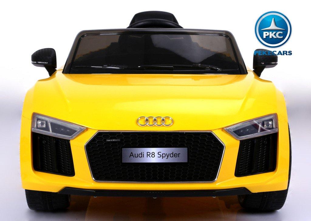 Coche electrico para niños Audi R8 Spyder amarillo con apertura de puertas