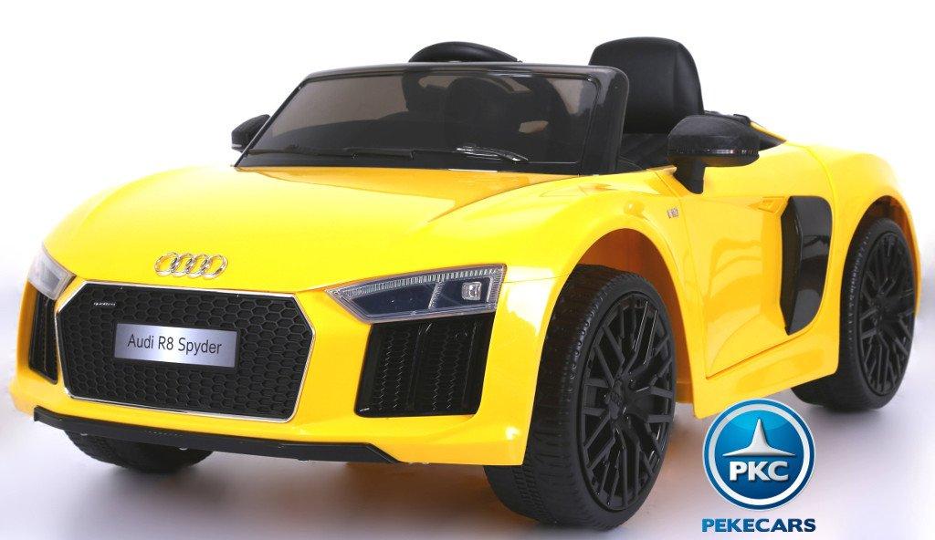 Coche eléctrico infantil Audi R8 Spyder amarillo con asiento en polipiel