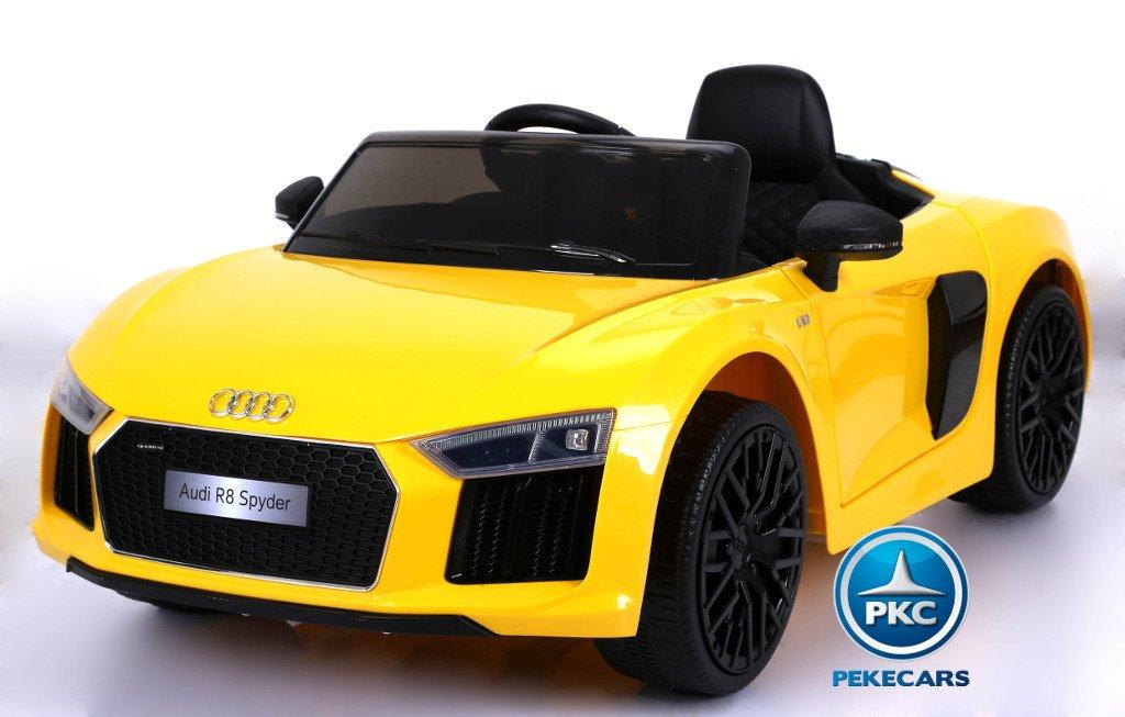 Coche electrico para niños Audi R8 Spyder amarillo con ruedas de caucho antipinchazos