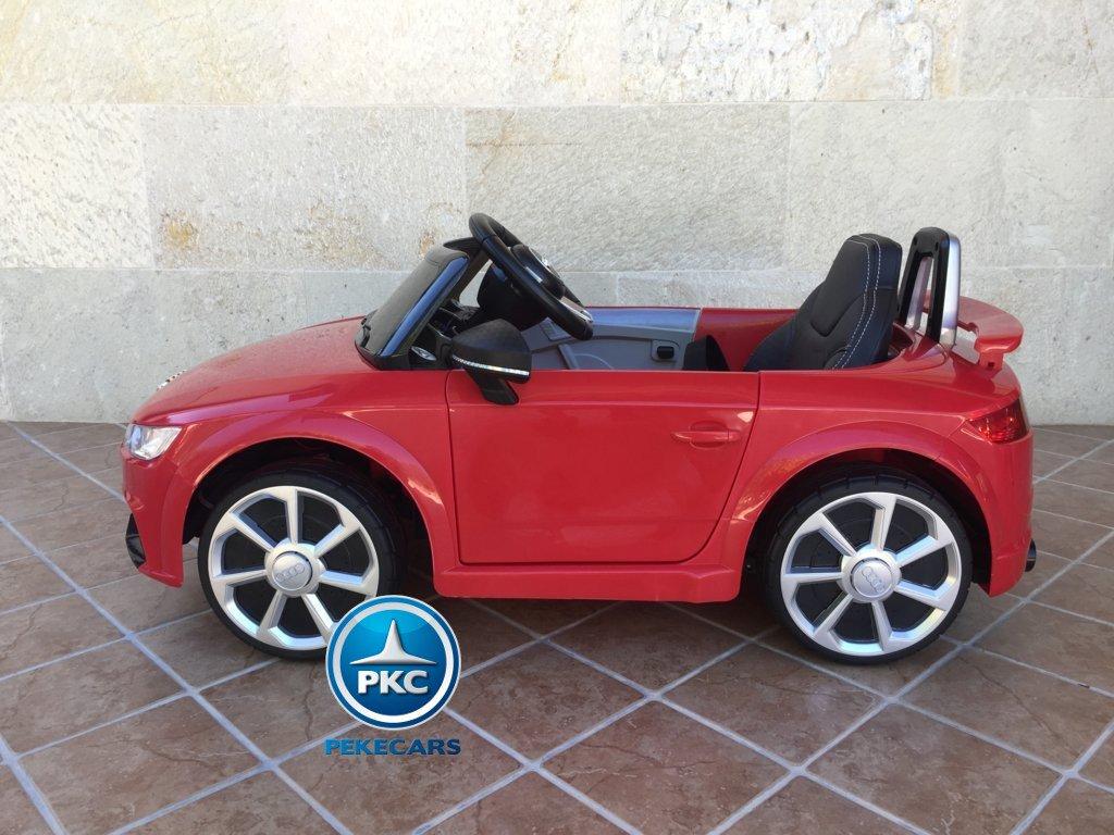 Coche electrico para niños Audi TT Rojo vista lateral