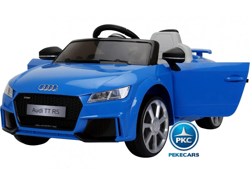 Coche electrico infantil Audi TT Azul con apertura de puertas