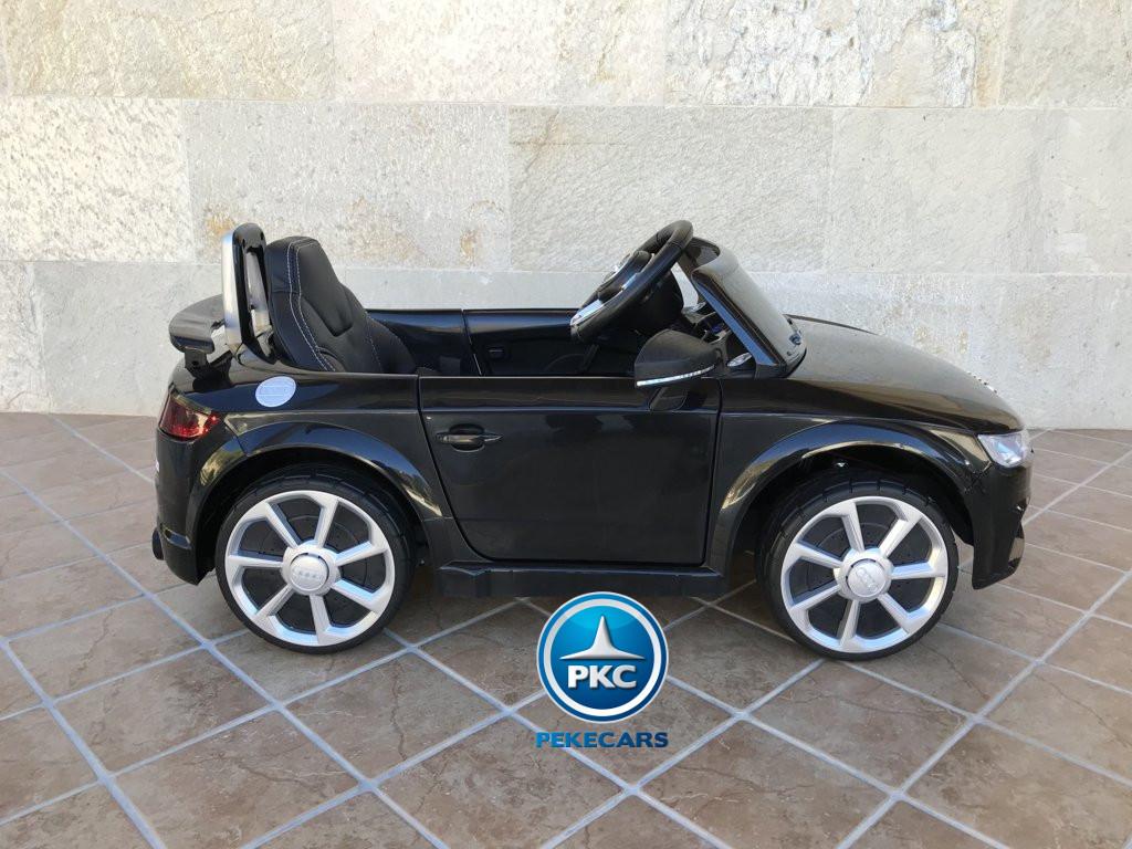 Coche electrico para niños Audi TT Negro vista lateral