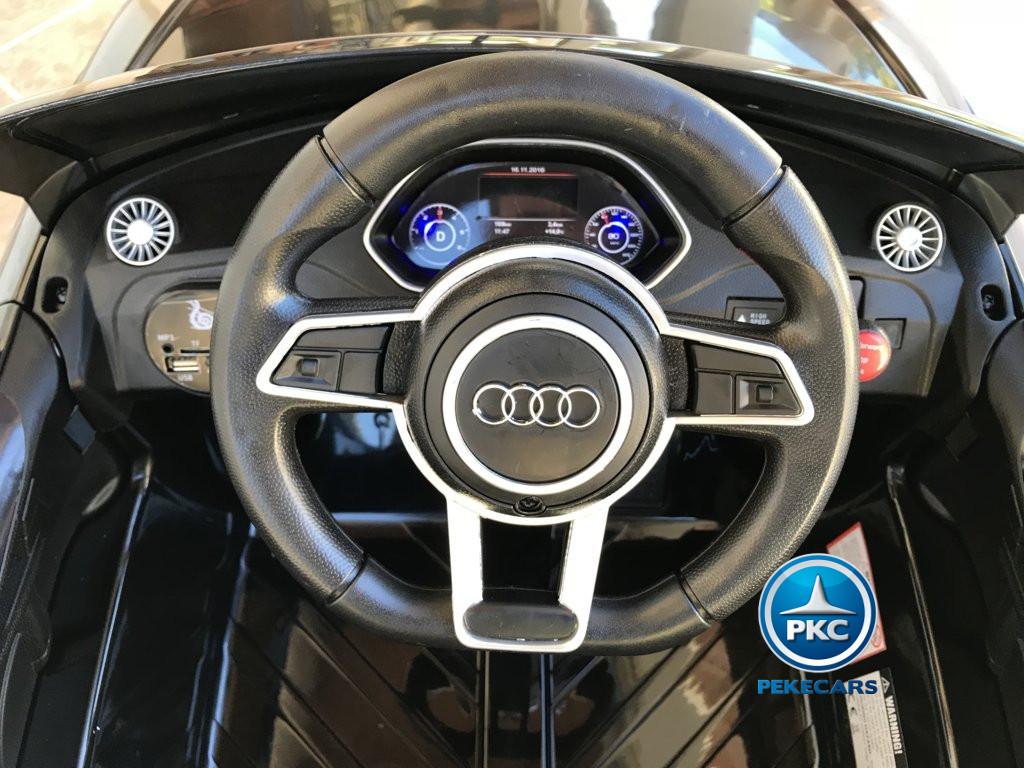 Coche electrico infantil Audi TT Negro volante con claxon y musica