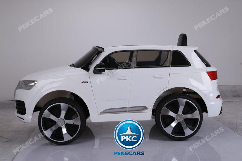 Coche electrico para niños Audi Q7 S-Line Blanco vista lateral