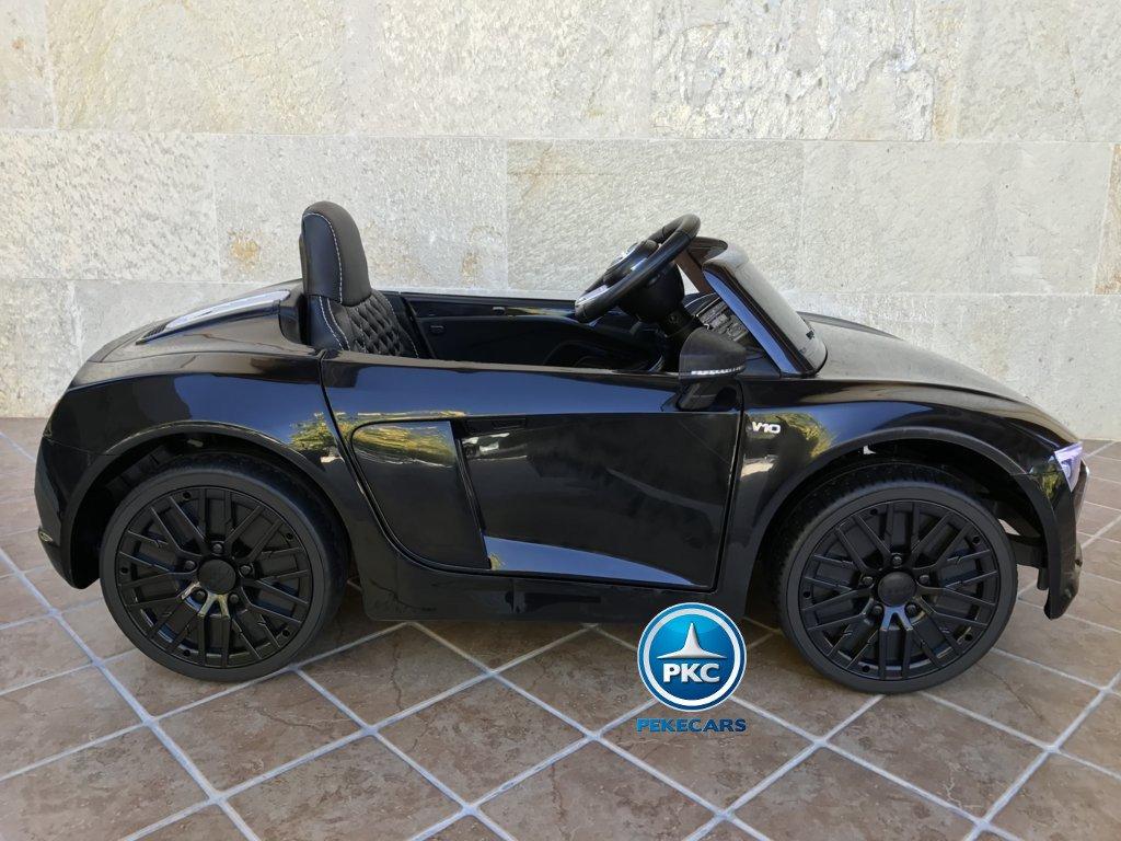 Coche eléctrico infantil Audi R8 Spyder Negro vista lateral