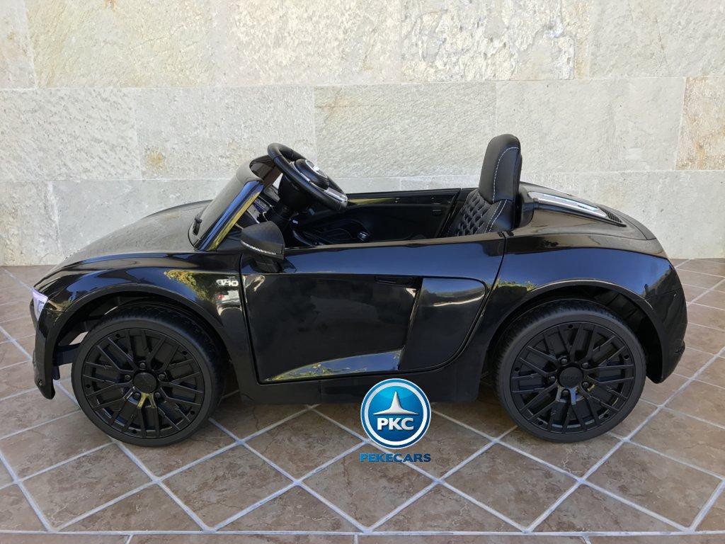 Coche electrico infantil Audi R8 Spyder Negro visto de lado