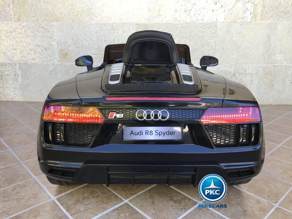 Coche electrico para niños Audi R8 Spyder Negro vista trasera