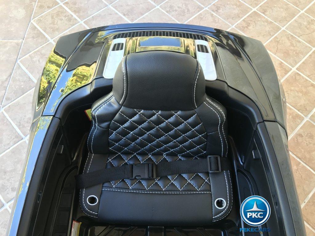 Coche electrico para niños Audi R8 Spyder Negro asiento acolchado en polipiel