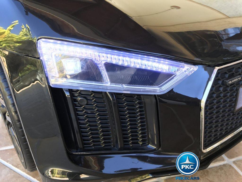 Coche electrico infantil Audi R8 Spyder Negro con luces delanteras