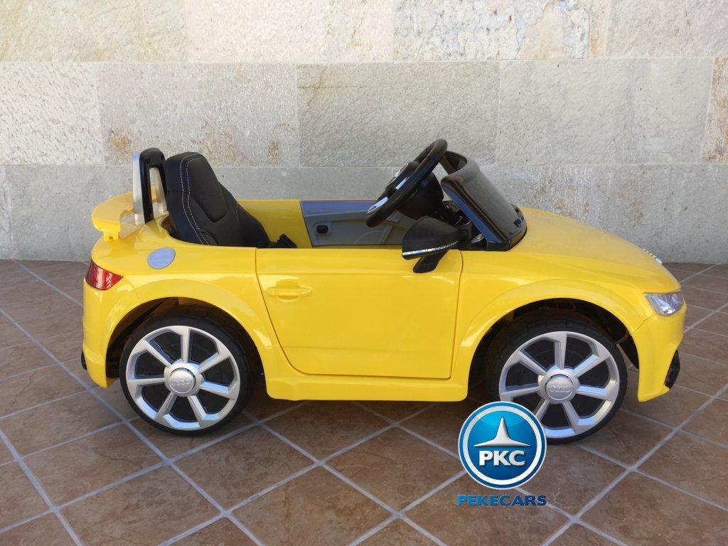 Coche electrico infantil Audi TT Amarillo vista lateral