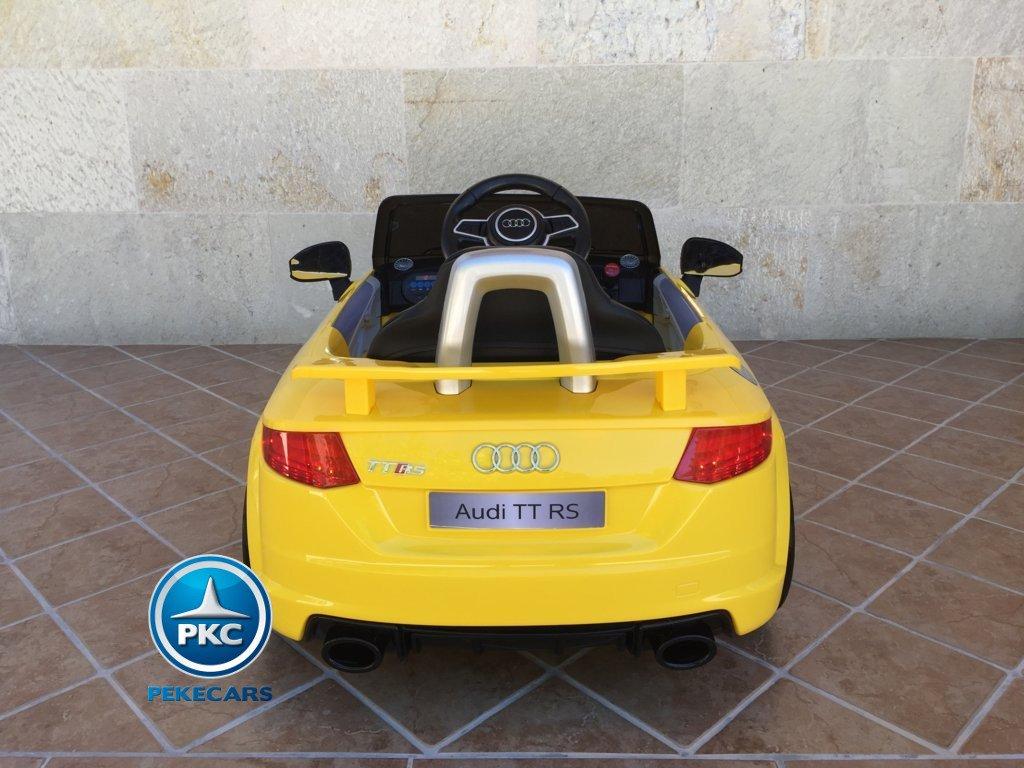 Coche electrico para niños Audi TT Amarillo vista trasera