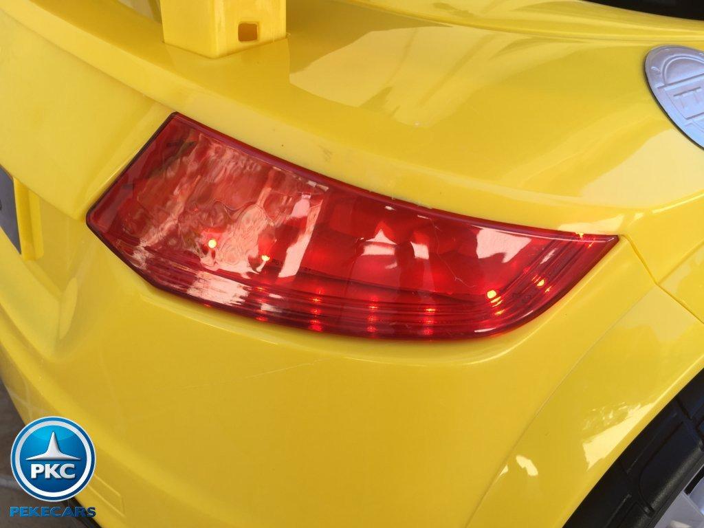 Coche electrico infantil Audi TT Amarillo luces LED traseras