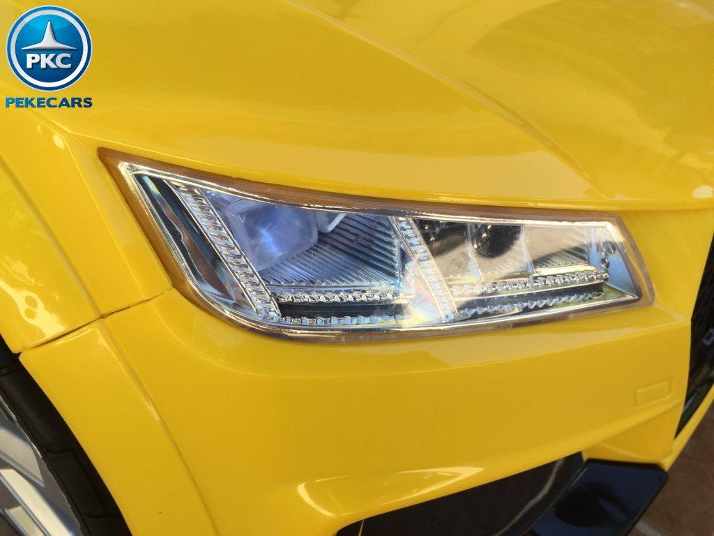 Coche electrico infantil Audi TT Amarillo con luces frontales