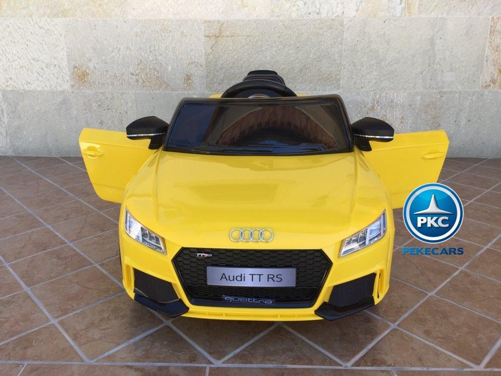 Coche electrico para niños Audi TT Amarillo con apertura de puertas