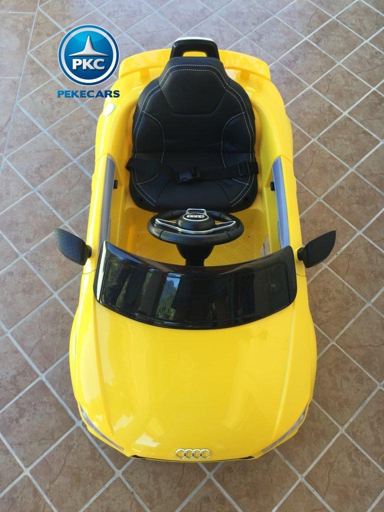 Coche electrico infantil Audi TT Amarillo visto desde arriba