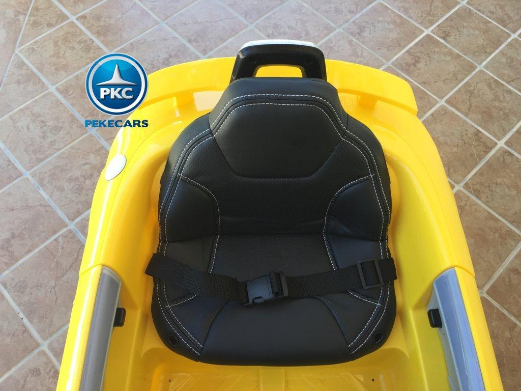 Coche electrico infantil Audi TT Amarillo con asiento acolchado en piel