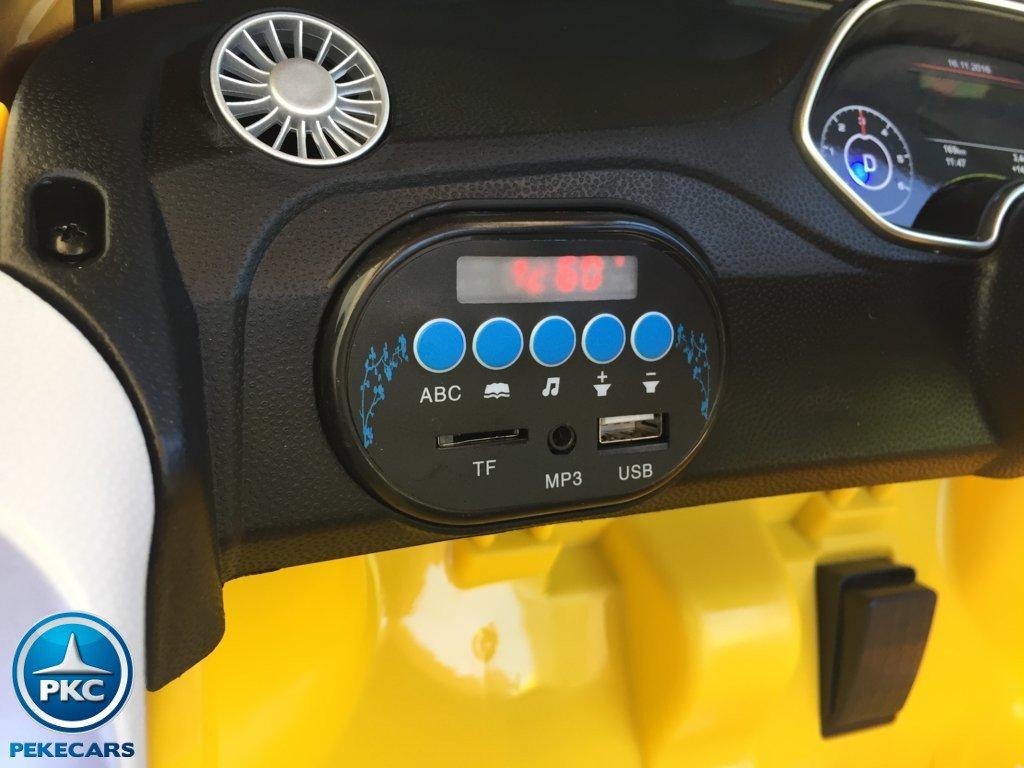 Coche electrico para niños Audi TT Amarillo con conexion USB