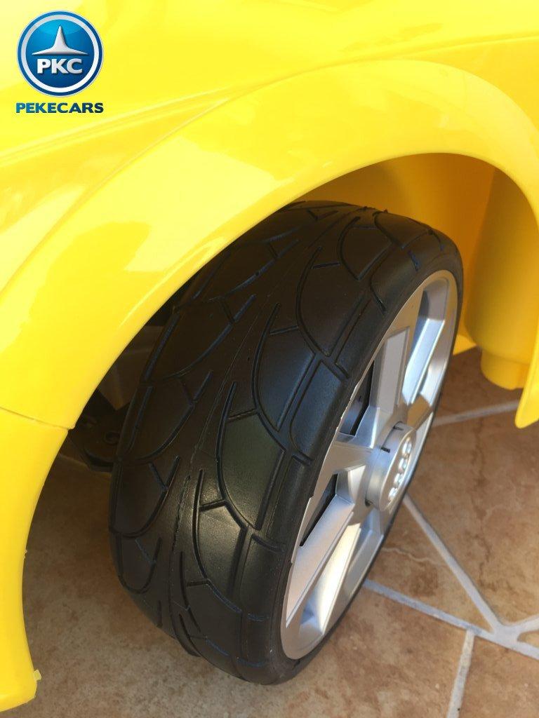 Coche electrico infantil Audi TT Amarillo con ruedas de caucho antipinchazos