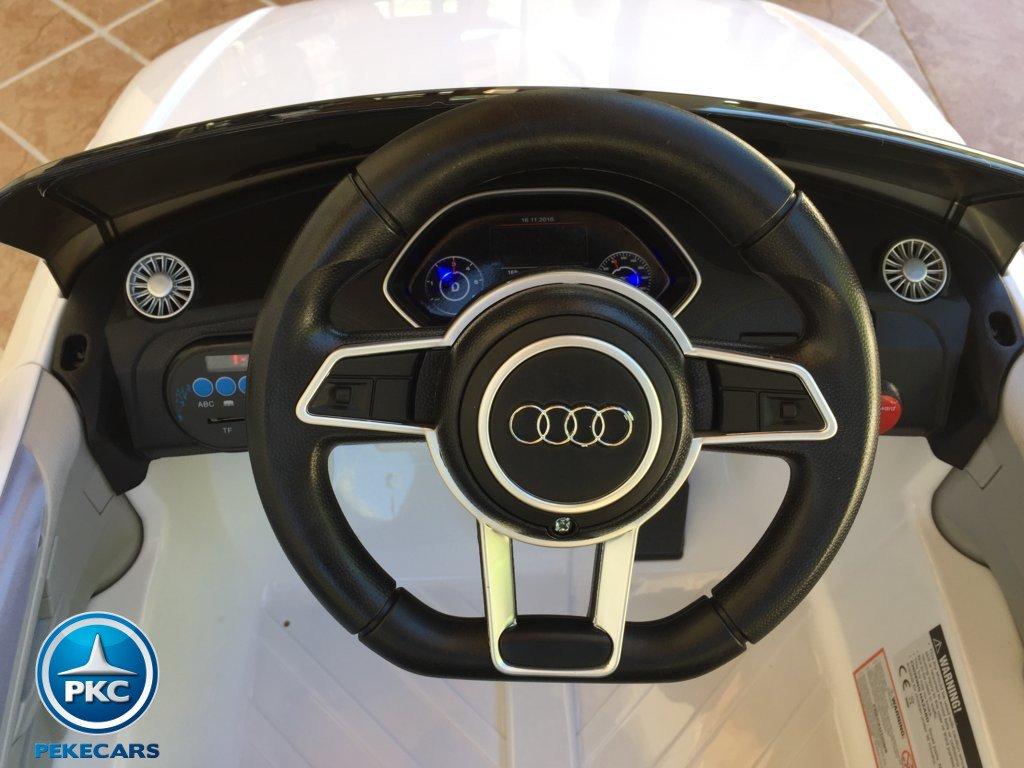 Coche electrico para niños Audi TT Blanco volante con claxon y musica