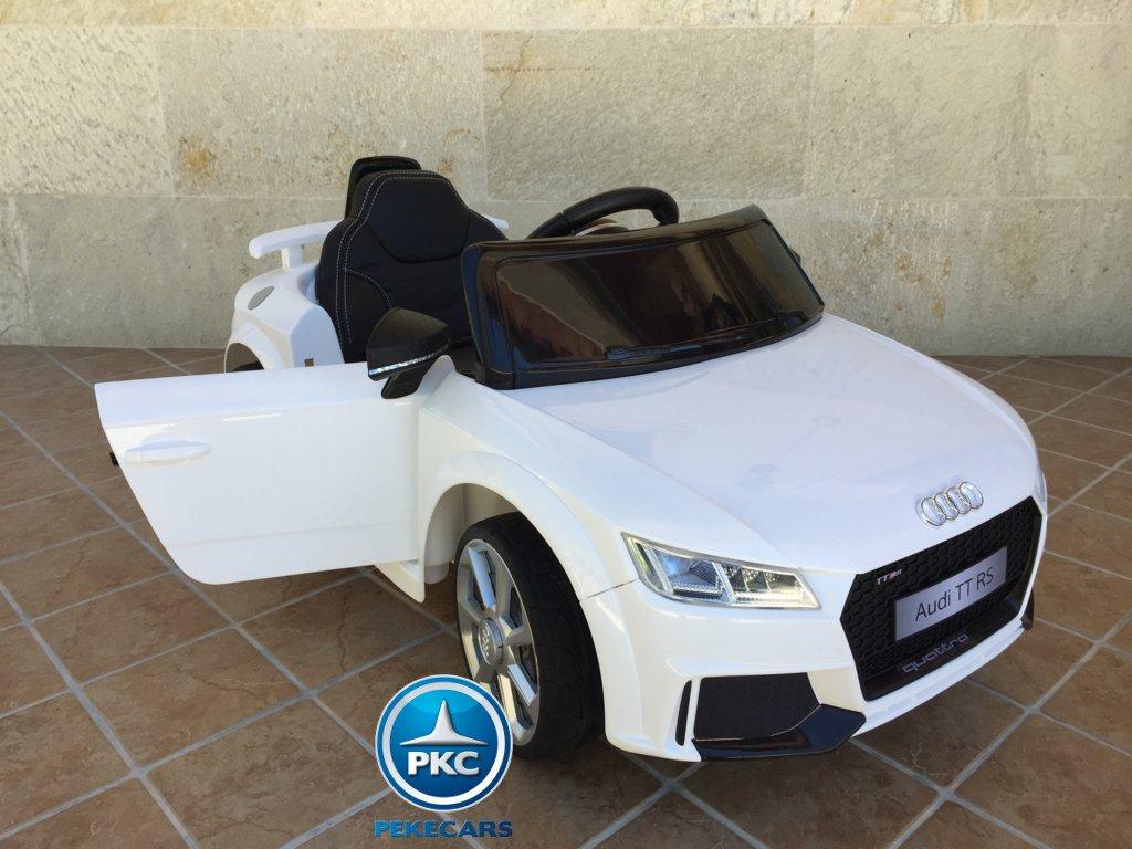 Coche electrico para niños Audi TT Blanco con apertura de puertas