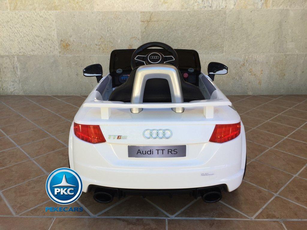 Coche electrico para niños Audi TT Blanco vista trasera
