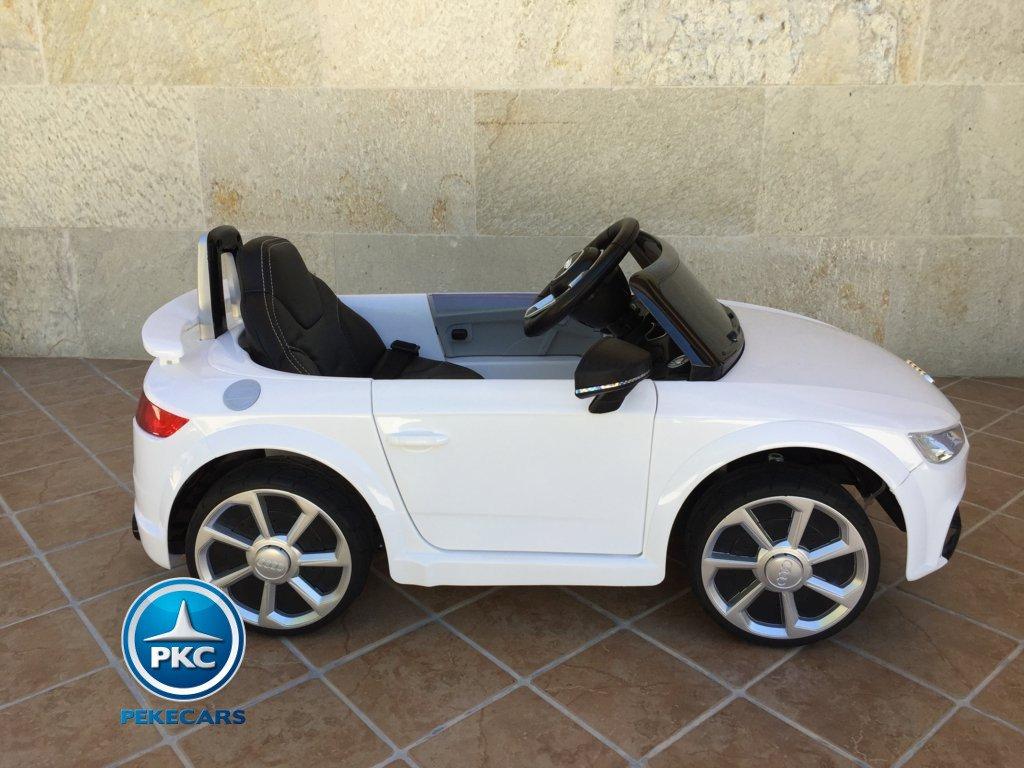 Coche electrico para niños Audi TT Blanco vista lateral