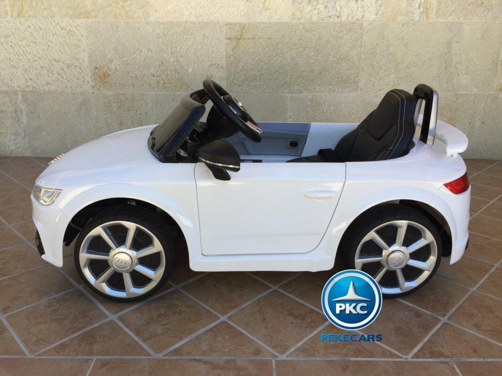 Coche electrico infantil Audi TT Blanco visto de lado