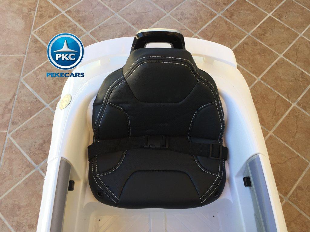 Coche electrico para niños Audi TT Blanco asiento acolchado en piel