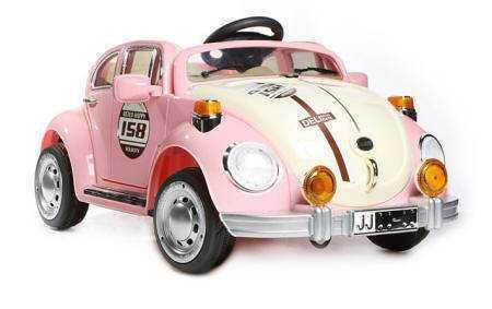 Coche electrico infantil Escarabajo Beetle Style Rosa luces led frontales