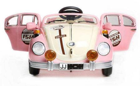 Coche para niños Beatle Rosa 12V  PEKECARS con ruedas de caucho