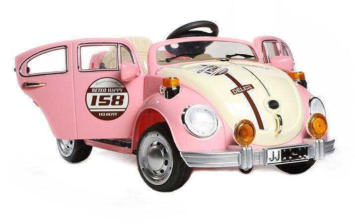 Coche electrico infantil Escarabajo Beetle Style Rosa con apertura de puertas