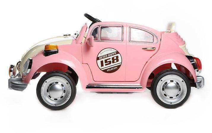 Coche electrico infantil Escarabajo Beetle Style Rosa vista lateral