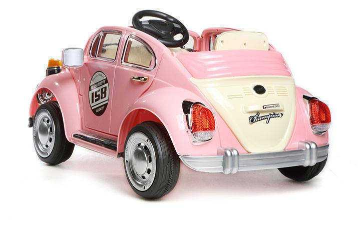 Coche electrico para niños Escarabajo Beetle Style Rosa con ruedas de caucho antipinchazos