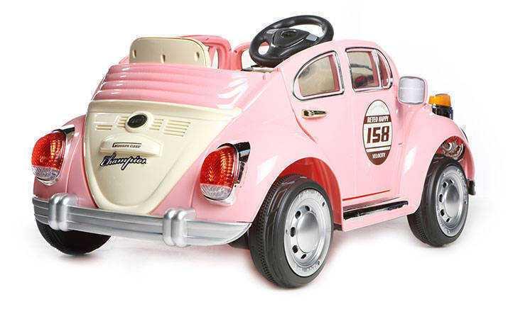 Coche electrico para niños Escarabajo Beetle Style Rosa con luces led