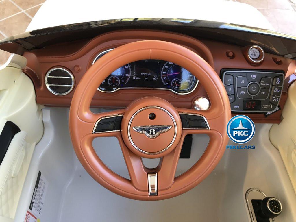 Coche electrico infantil Bentley Bentayga Blanco volante con musica y claxon