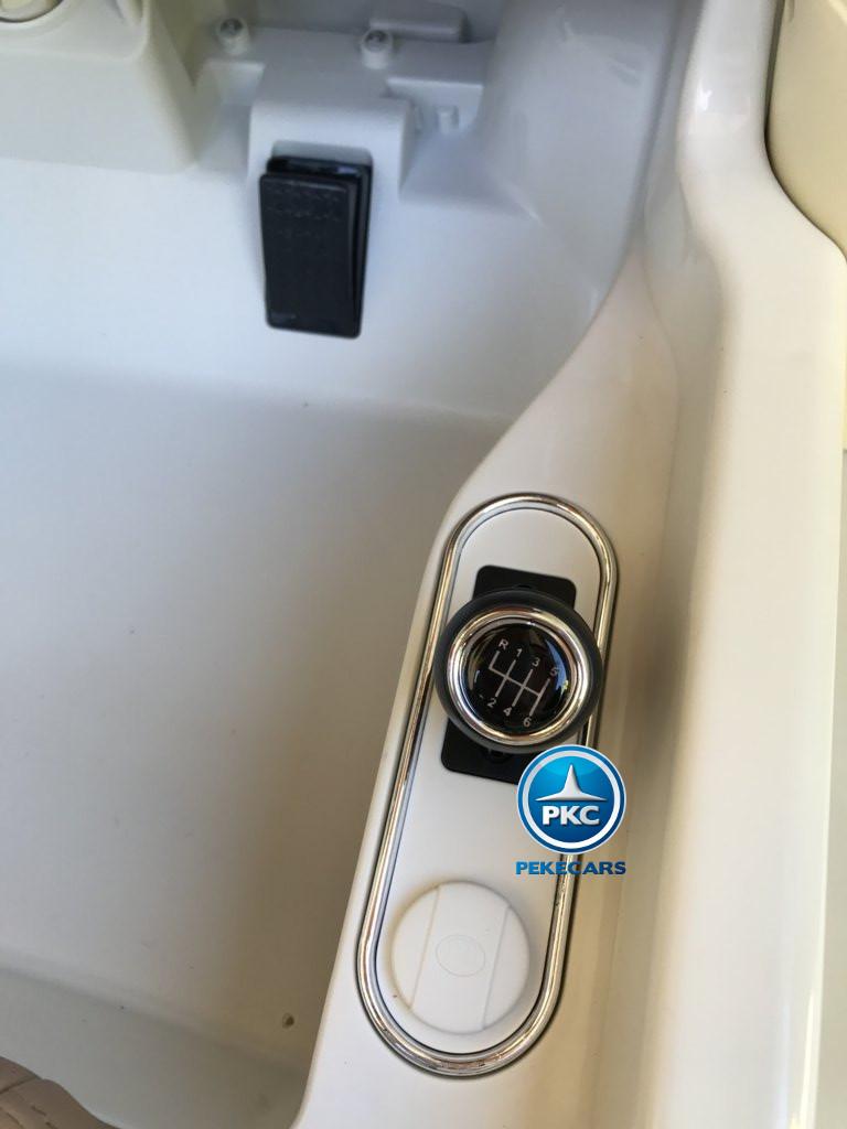 Coche electrico para niños Bentley Bentayga Blanco palanca de velocidad