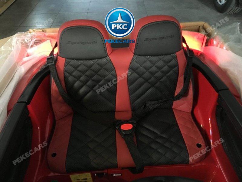 Coche electrico para niños Bentley Continental Supersports 12V Rojo asiento acolchado en piel