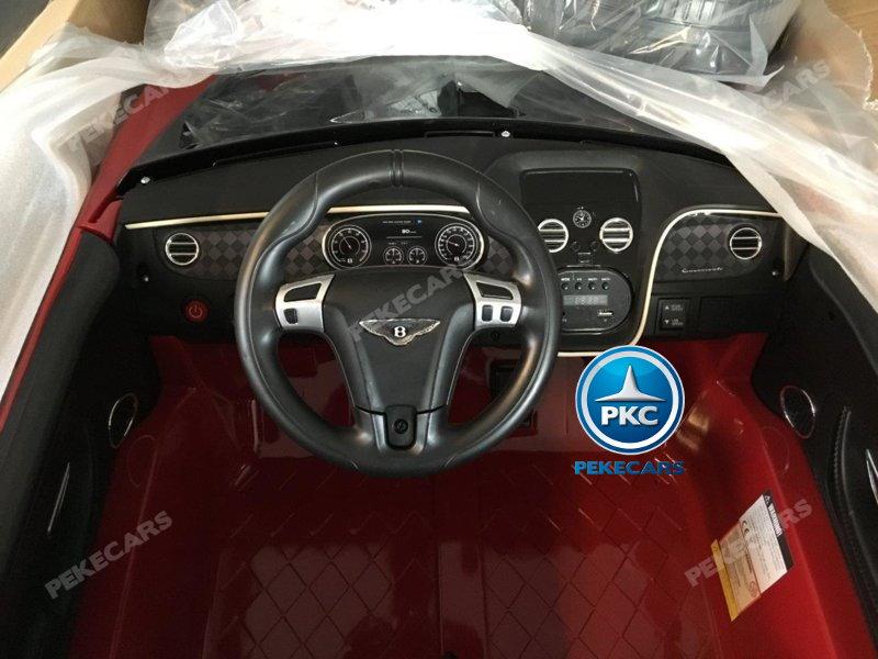 Coche electrico infantil Bentley Continental Supersports 12V Rojo volante con música y claxon