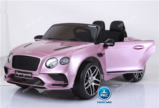 Coche electrico para niños Bentley Continental Supersports 12V Rosa puertas abiertas