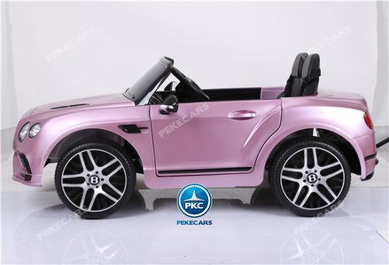 Coche electrico infantil Bentley Continental Supersports 12V Rosa Metalizado con ruedas de caucho antipinchazos