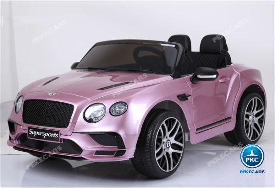 Coche electrico infantil Bentley Continental Supersports 12V Rosa Metalizado volante con música y claxon