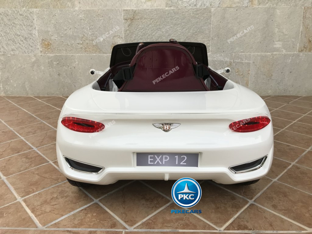 Coche electrico infantil Bentley EXP Blanco vista trasera