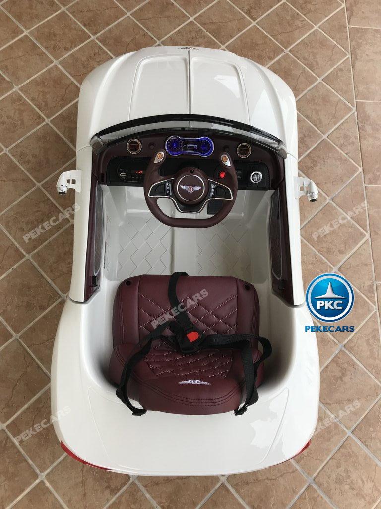 Coche electrico infantil Bentley EXP Blanco detalles del interior