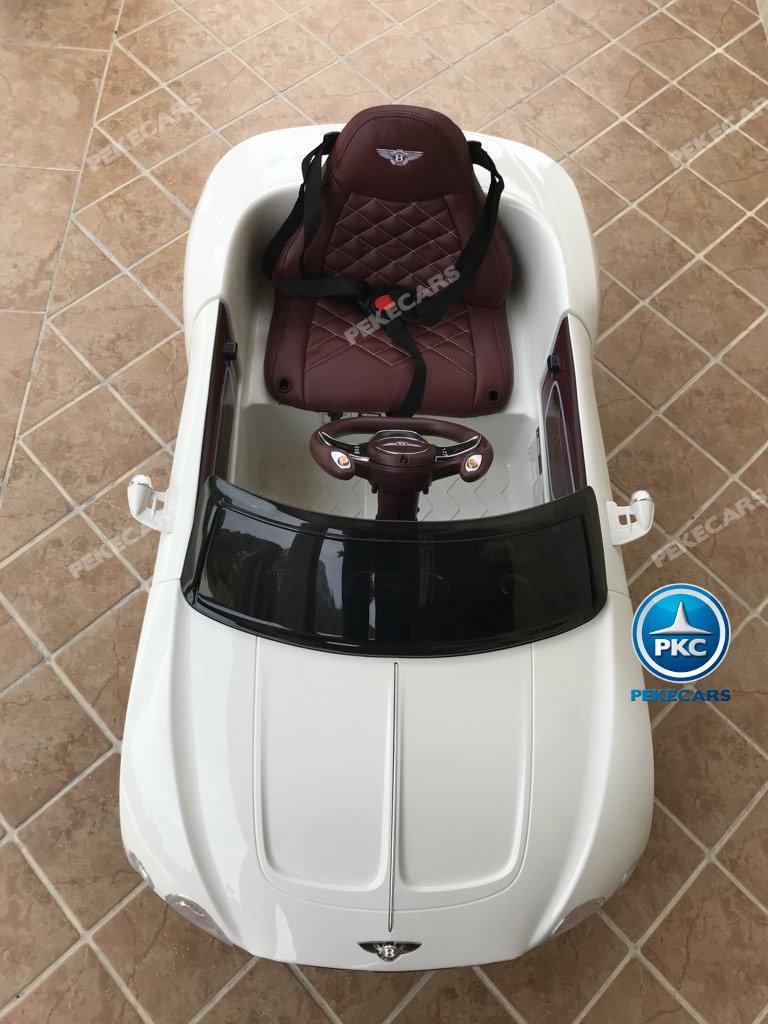 Coche electrico para niños Bentley EXP Blanco visto desde arriba