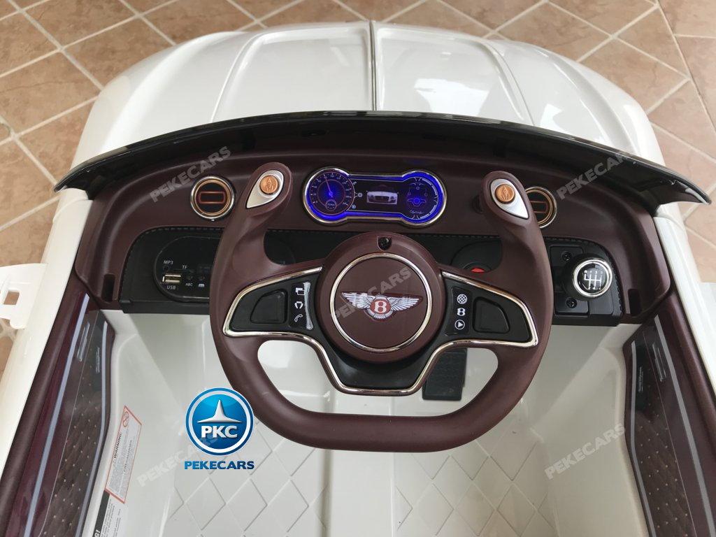 Coche electrico infantil Bentley EXP Blanco volante con musica y claxon